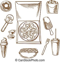 Pizza, ice cream and fast food snacks
