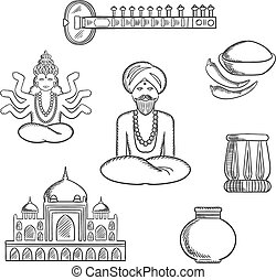 Indian culture and religion sketch icons with sitar, fresh...