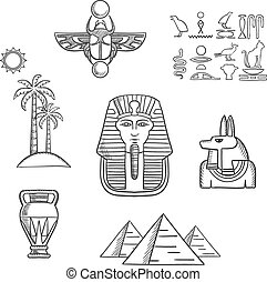 Egypt travel and ancient sketch icons - Egypt travel and...