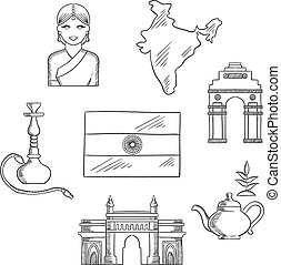 India culture and travel concept with sketched icons of gate...