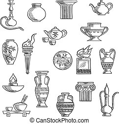 Various containers and kitchenware sketches - Containers and...