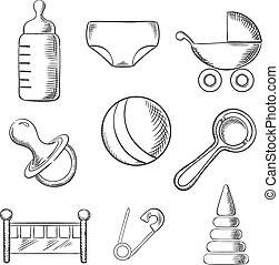 Baby and childhood sketched icons with a pram, ball, bottle,...