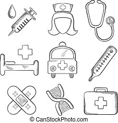 Sketched medical and healthcare icons