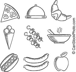 Food icons set in sketch style - Food icons with a slice of...