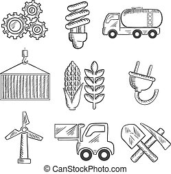 Energy and industry sketched icons