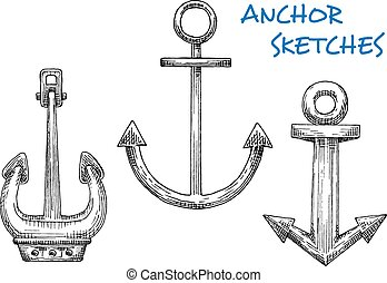 Isolated vintage marine anchors in sketch style For...