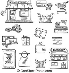 Shopping and retail icons set, sketch style