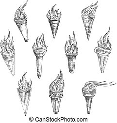 Flaming torches in retro sketch style