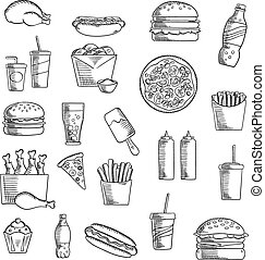 Fast and takeaway food sketched icons - Takeaway and fast...