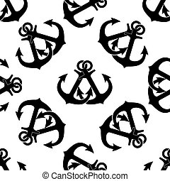 Marine crossed anchors seamless pattern - Marine anchors...