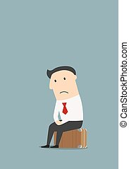 Unemployed cartoon businessman after dismissal
