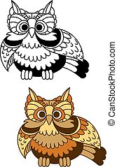 Cartoon striped owl with flapping wings - Cartoon brown and...