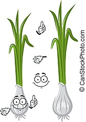 Cartoon healthful green onion vegetable - Cartoon spring...