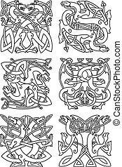 Celtic knot pattern with tribal dragons - Celtic animal knot...