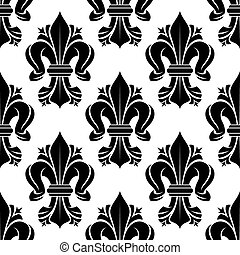 Black and white seamless fleur-de-lis pattern