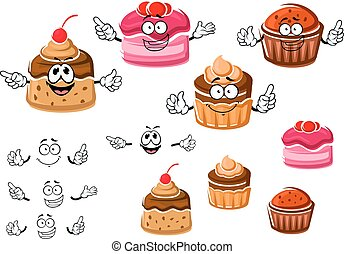 Chocolate cupcakes and caramel pudding - Delicious cartoon...