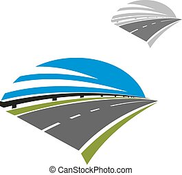 Icon of freeway road under blue sky - Speed freeway icon...