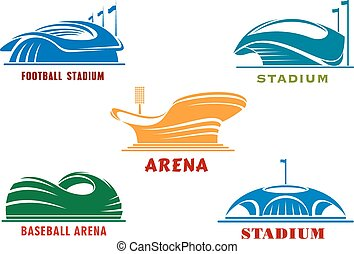 Icons of modern sport stadiums and arenas - Modern sport...