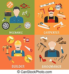 Builder, carpenter, mechanic and shoemaker - Construction...