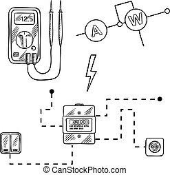 Voltmeter, electricity meter and electrical circuit sketch -...