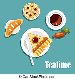 Teatime food with cup of tea, pastries and candies - Teatime...