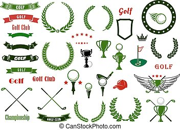 Golf and golfing sport elements or items - Golf and golfing...