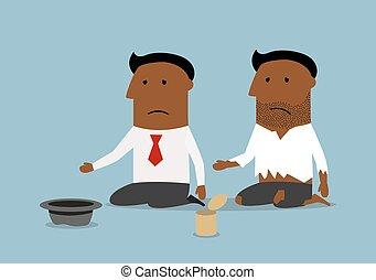 Bankrupt black businessman is begging for money - Cartoon...