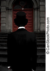 Stairwell Of Darkness - Dark Man In Black Suit And Top Hat...