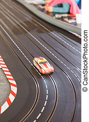 Toy race car track - A toy race car track ready for a race