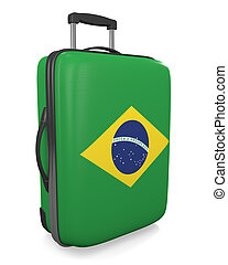 Brazil travel suitcase - Brazil vacation destination concept...