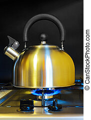Stovetop whistling kettle -  cooking kitchen background