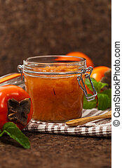 Persimmon Jam - Orange Persimmon Jam with Saffron. Selective...