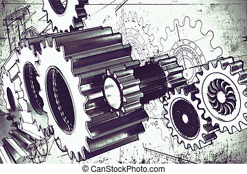 System of gear - System of a mechanism gear stuck together