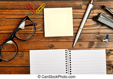 Office supply on table - Office supply on wooden table