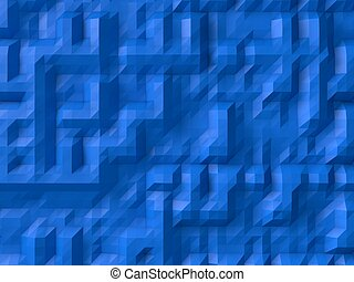 blue abstract background randomly generated 3d forms on...