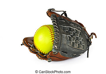 Yellow Softball and Glove isolated on white