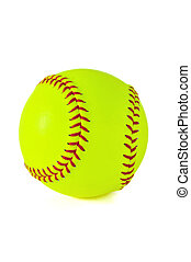 Yellow Softball - Yellow softball with red stiching isolated...
