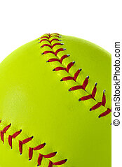 Yellow Softball Close-up - Close-up of yellow softball with...