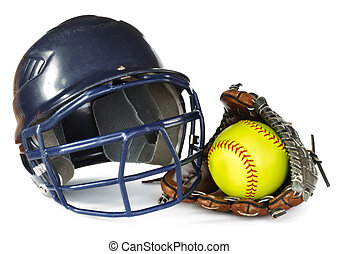 Helmet, Yellow Softball, and Glove isolated on white