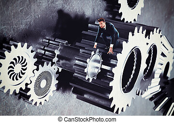 Man in a system of gear stuck