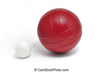 Red Bocce Ball and Pallino Jack or Boccino isolated on white...