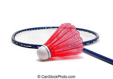 Red Badminton Shuttlecock (Birdie) and Racket isolated on...
