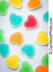 sugary heart shaped candy - Colorful of sugar heart shaped...
