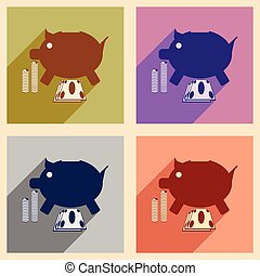 Flat with shadow icon concept piggy bank coins and dollars