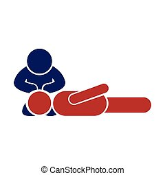 Modern flat icon on white background man CPR