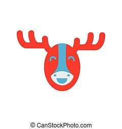 flat icon on white background Canadian moose