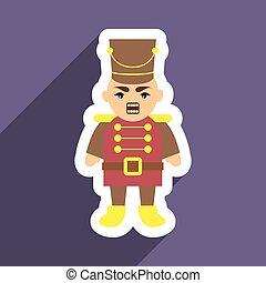 flat icon with long shadow Nutcracker boy