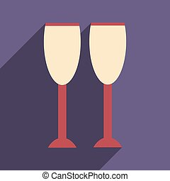 flat icon with long shadow glasses of champagne
