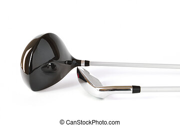Golf Clubs, Driver One Wood and Pitching Wedge isolated on a...
