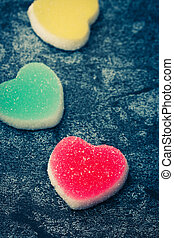 sugary heart shaped candy - Vintage style of sugar heart...